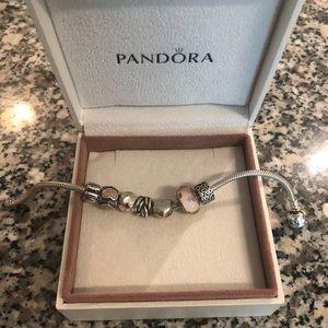 "Pandora Bracelet and 7 Pandora Charms. 7.5"""